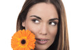 Beautiful woman portrait with flower