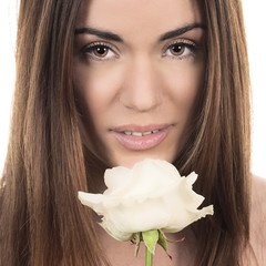beautiful woman with white rose