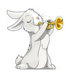 hare playing trumpet