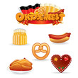 Oktoberfest Food and Drink Icons. Vector Clip Art