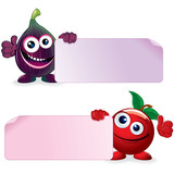 Cherry and Fig. Vector Cartoon Illustration