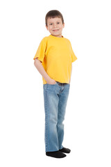 boy in yellow t-shirt