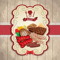 Vintage BBQ steak prawn robster label set template