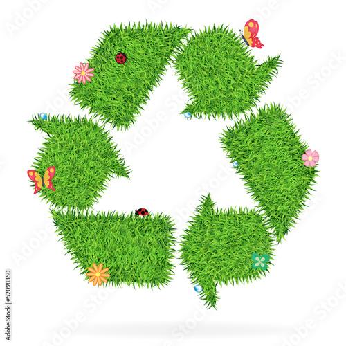 Vector Grass recycle symbol ecological concept