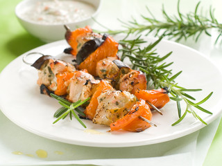 Grilled chicken and vegetable kebab