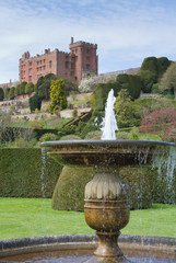 Looking up from the gardens to Powis Castle, mid Wales,UK