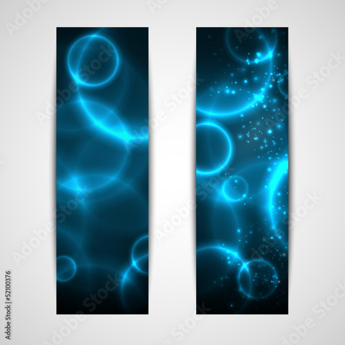 set of abstract blue banners