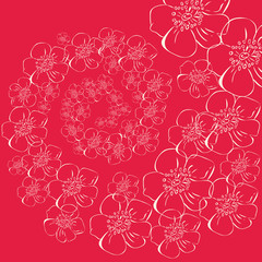 Vector illustration of a spiral of flowers