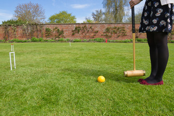 On the croquet lawn in English country garden