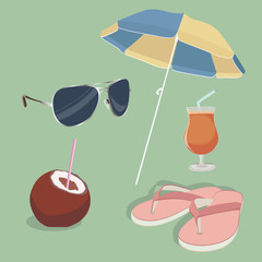 Summer, object, umbrella, slippers, cocktail, rest. vector