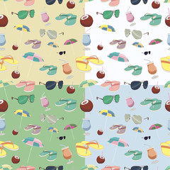 seamless texture. Summer. Color. cocktail, slippers. Vector