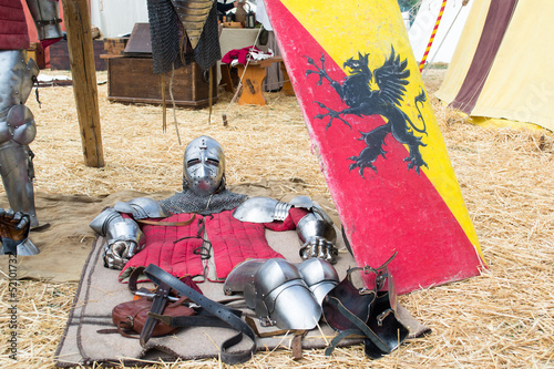 medieval armor lying on the ground