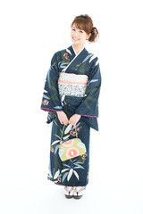 Beautiful japanese kimono woman isolated on white background