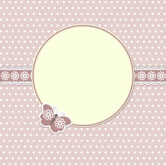 Elegant round frame with butterfly