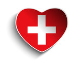 Switzerland Flag Heart Paper Sticker