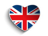 Vector - UK Flag Heart Paper Sticker