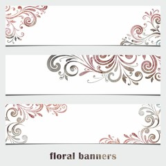 Grunge floral banners. Watercolor vintage background.