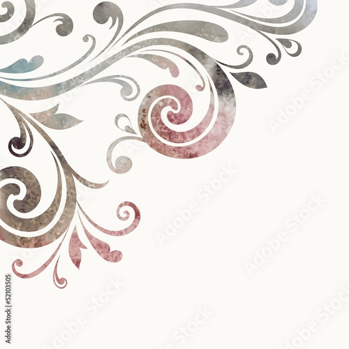 Floral design blank. Watercolor pattern.