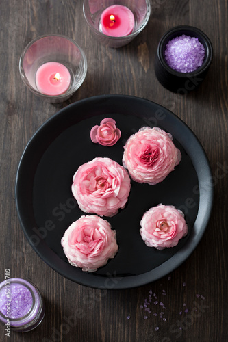 ranunculus flowers in bowl