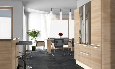 Küche mit offenem Esszimmer