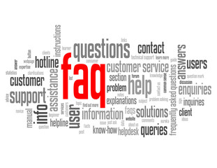 """FAQ"" Tag Cloud (information support customer service hotline)"
