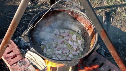 Cooking pilaf.Stewed meat.