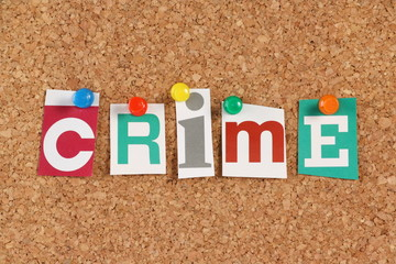 The word Crime in cut out magazine letters
