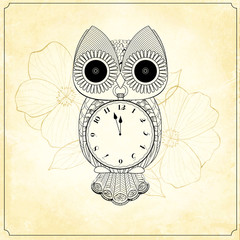Decorative Owl with a Clock and Background Flowers