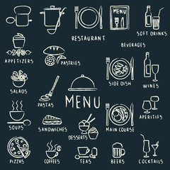 Chalk drawn restaurant menu design elements on blackboard