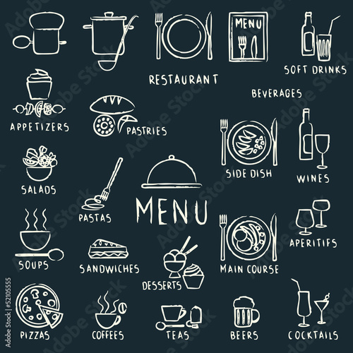 kreda-rysowane-elementy-projektu-menu-restauracji-na-tablicy