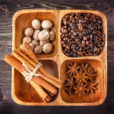 Assorted spices and coffee
