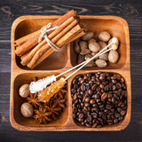 Assorted spices, sugar and coffee