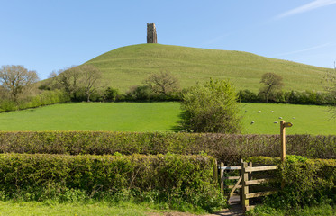 Somerset England Glastonbury Tor UK