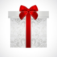 Silver gift box floral pattern and red bow (ribbon)