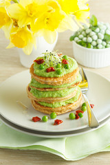 Buckwheat pancakes with peas cream