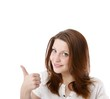 young woman with thumb up (white background)