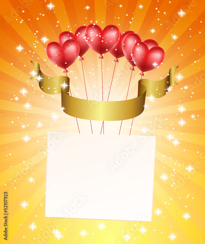 background with balloons,stars, ribbon and rays