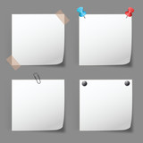 set of note papers on gray
