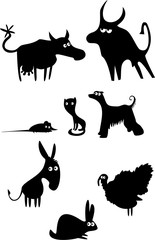 Set of funny domestic animals