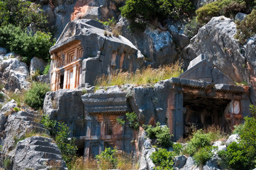 Lycian tombs in Myra, Demre (Turkey)