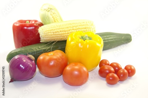 Garden vegetables isolated on white background