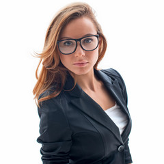 portrait of attractive woman with glasses isolated on white