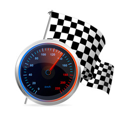 Racing Speedometer and checkered flag. Vector