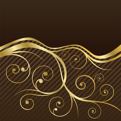 Brown and gold swirls coffee menu cover