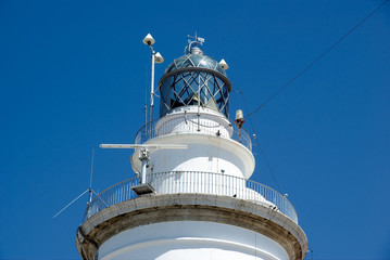 Lighthouse of Malaga harbor, detail of the top