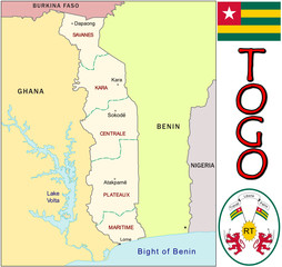 Togo Africa emblem map symbol administrative divisions