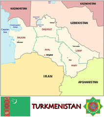Turkmenistan Asia emblem map symbol administrative divisions