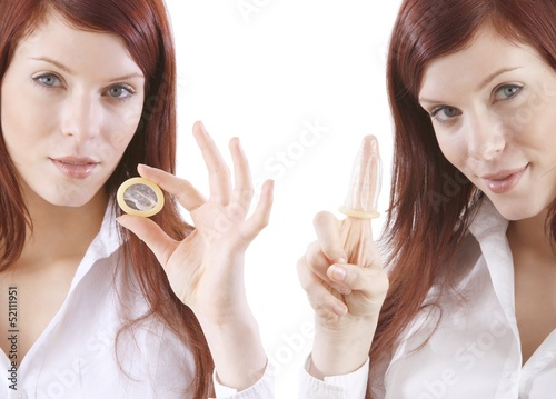 young woman with condoms