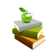 Colorful Book And Green Apple,...