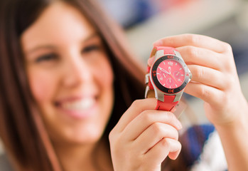 Happy Woman Buying New Wristwatch